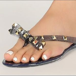 Shoes - Bow glitter jelly sandals 39 40 8.5 9.5 stud